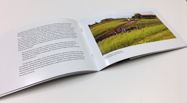"""The exhibition catalog for """"Jackie Brookner On Nature"""" features a photograph by Ronald Albert of the World Garden Commons."""