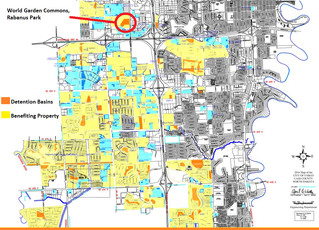 The orange and darker blue shapes indicate public and private detention basins that provide stormwater protection to properties within the City of Fargo.