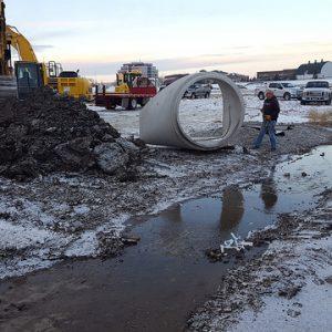 Winter construction at World Garden Commons