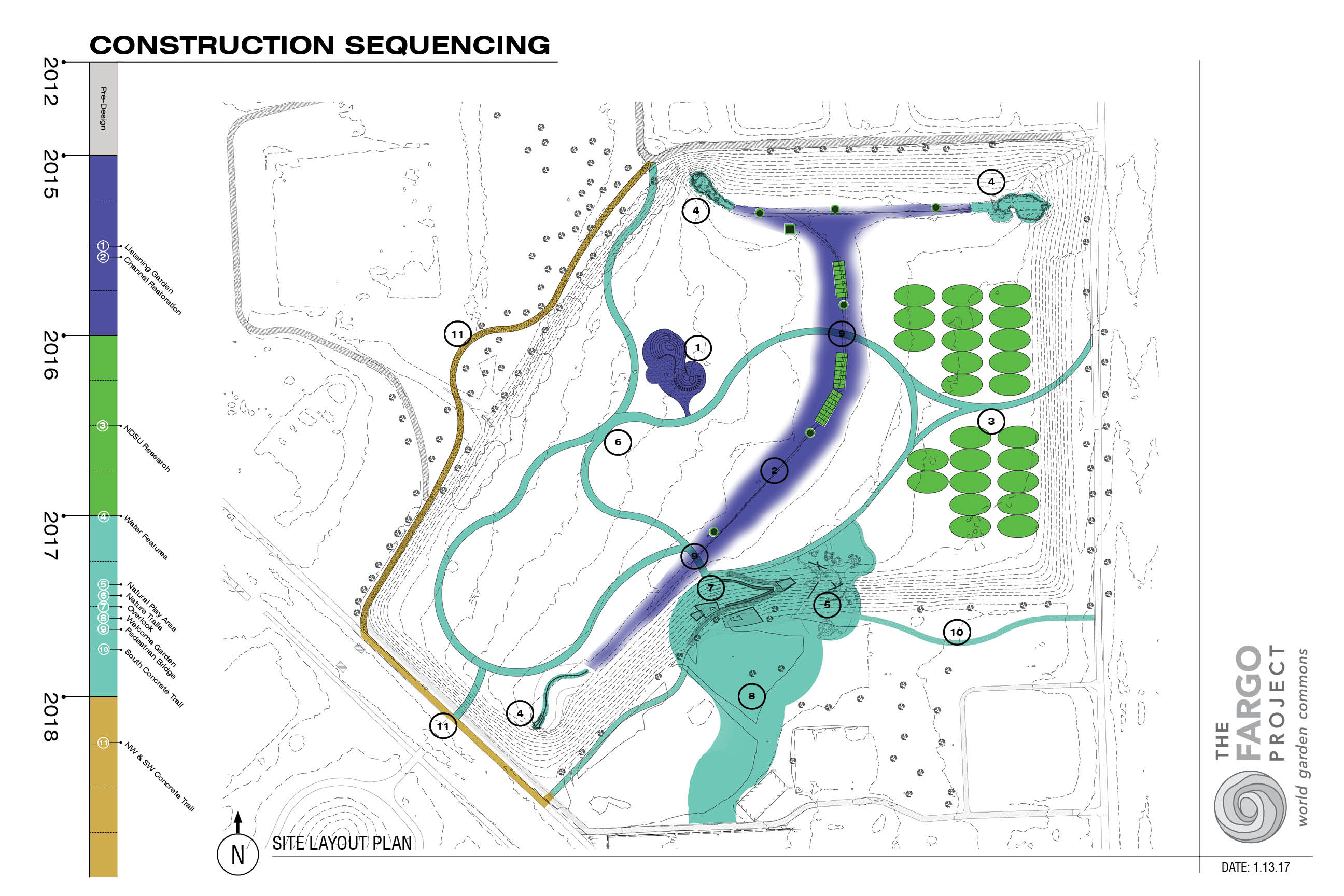 The map outlines construction sequence at World Garden Commons