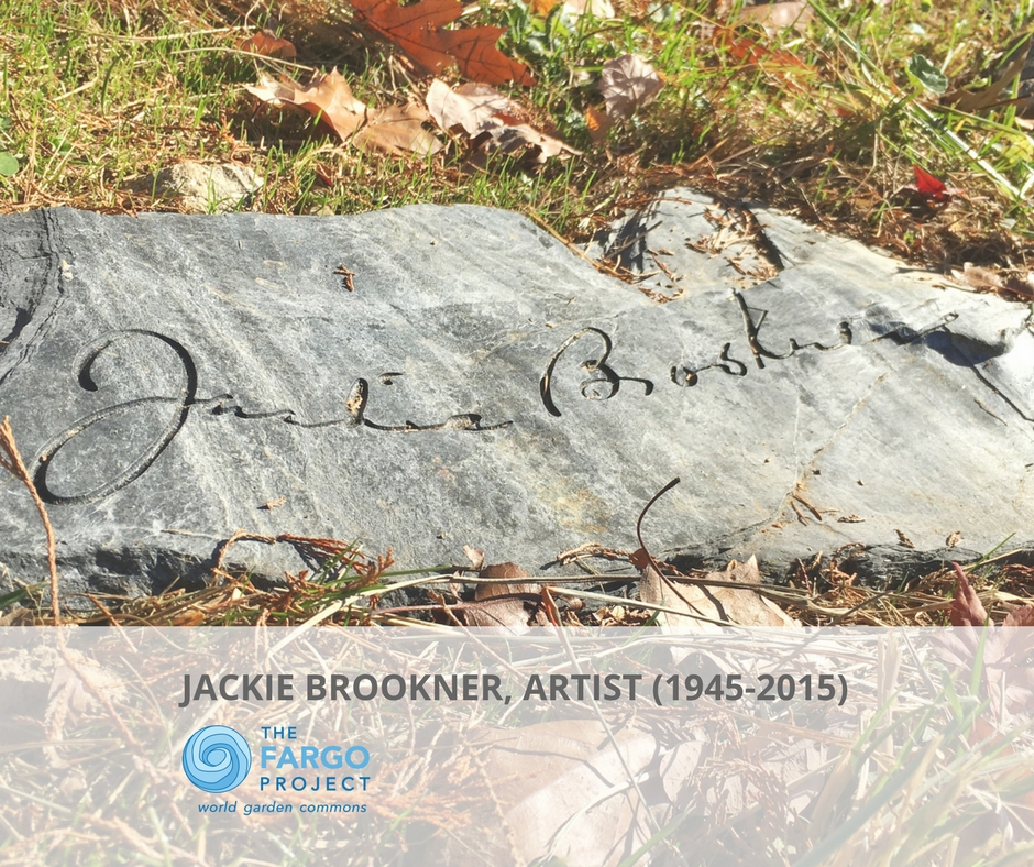 Jackie Brookner's Signature on slate headstone at her final resting place in Sleepy Hollow, NY
