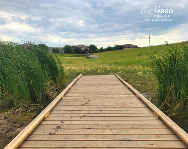 8.	The boardwalk makes walking the basin more attractive for neighbors; once final construction complete, Boy Scout Adam Laschkewitsch's boardwalk will connect trails throughout the basin.