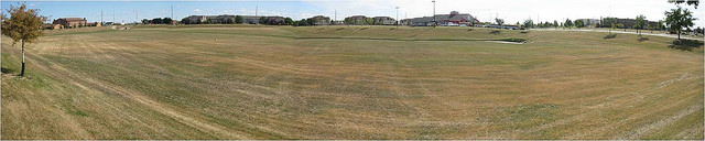 2012 panoramic view of the Rabanus stormwater basin with mowed lawn