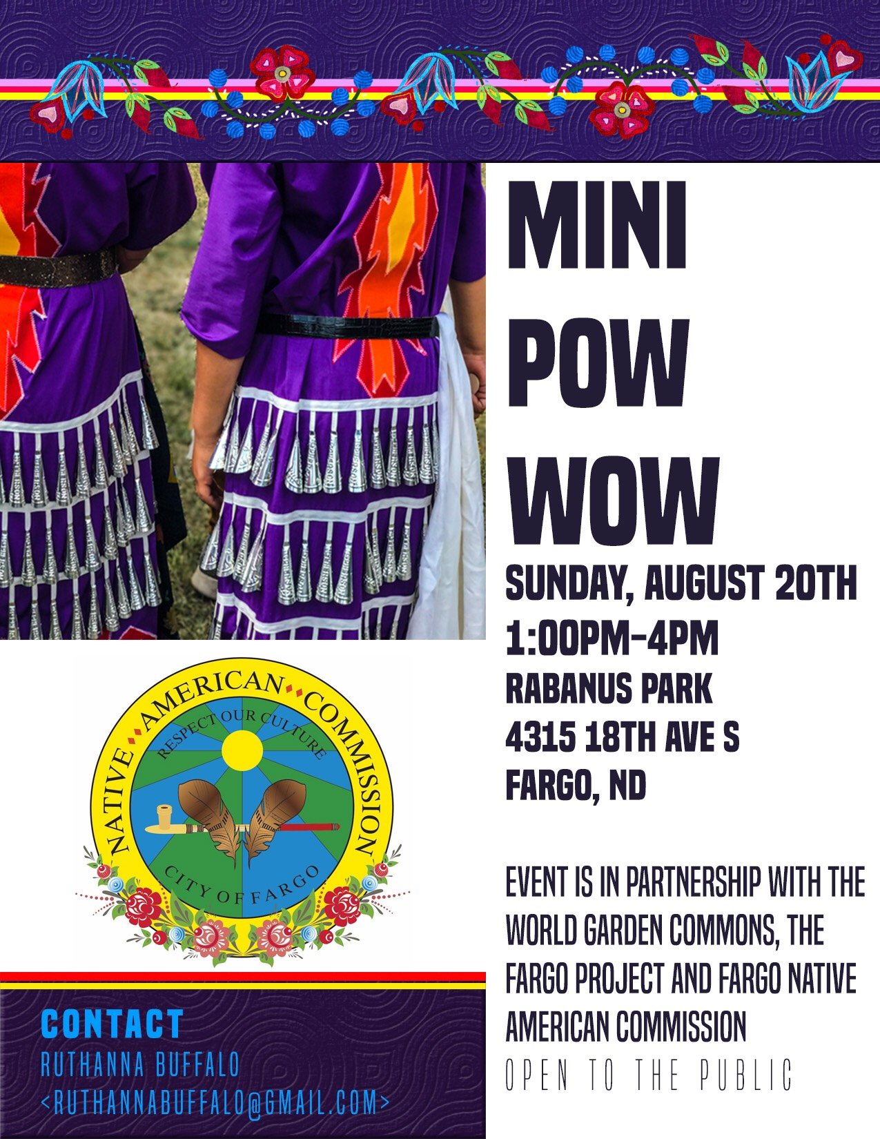 MINI POW WOW Sun. Aug. 20, 2017 Rabanus Park, Fargo